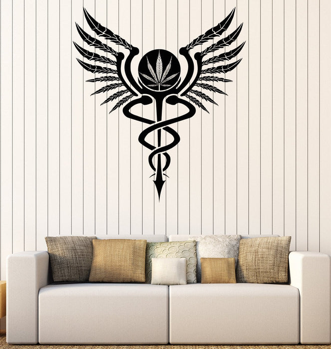 Vinyl Decal Wall Sticker Cannabis Caduceus Hippie Decor Unique Gift (n747)