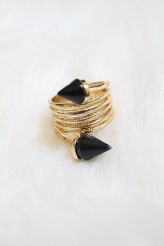 Stone Tip Coil Ring - Black