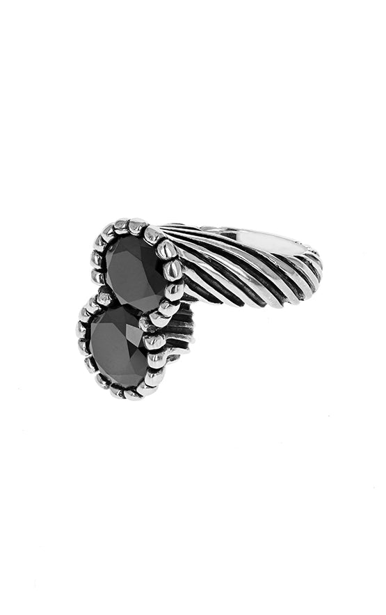 Twisted Pattern Ring with Double 10mm Black CZ