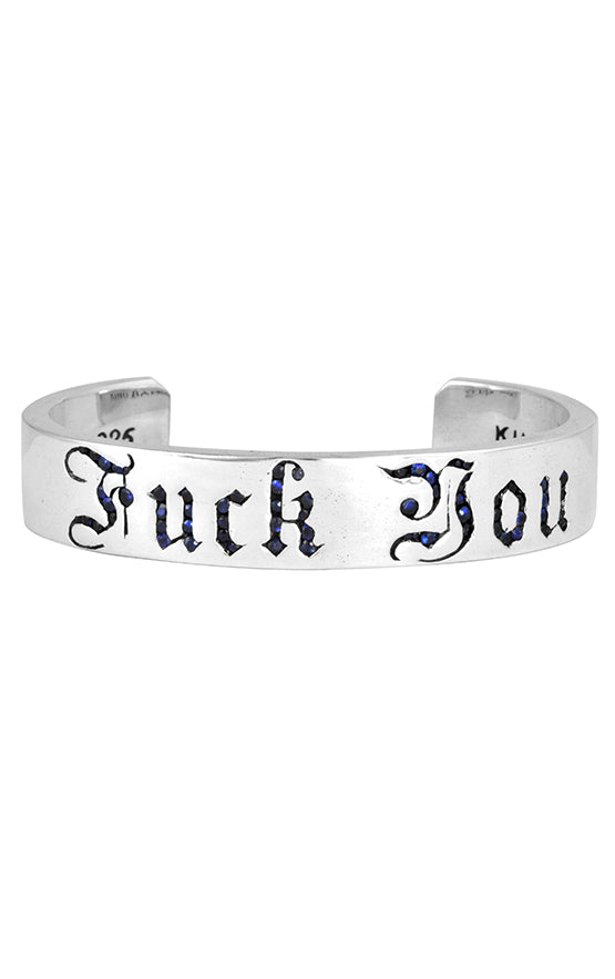 Silver Fuck You Cuff with Sapphires