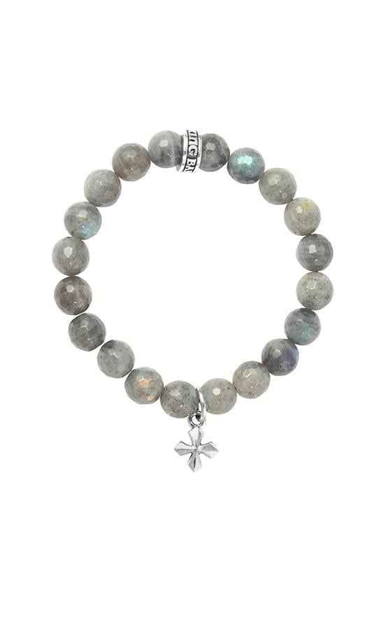 10mm Labradorite Bracelet with Small MB Cross