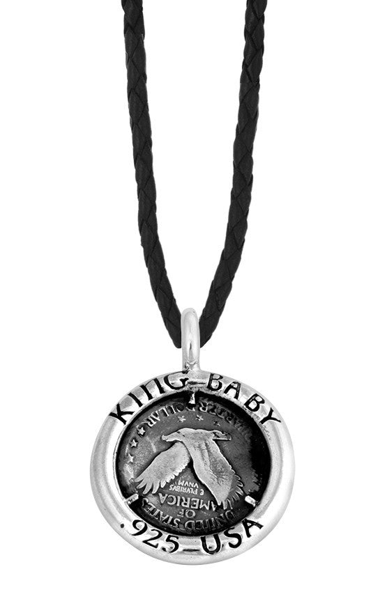Raven Coin Pendant on Black Leather Cord