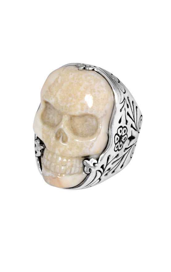 Carved Fossilized Ivory Classic Skull Ring