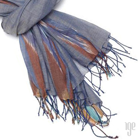 Jacquard Temple Cotton Scarf | Blue