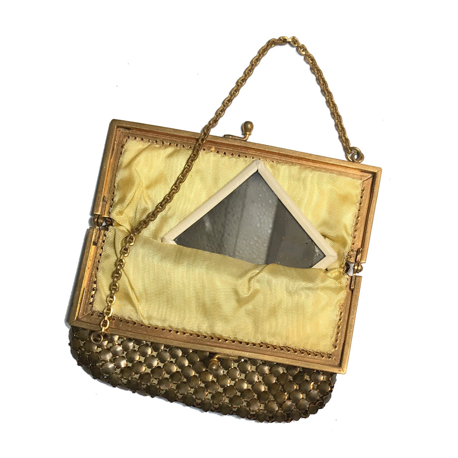 Vintage Brass Mesh Evening Bag with Mirror