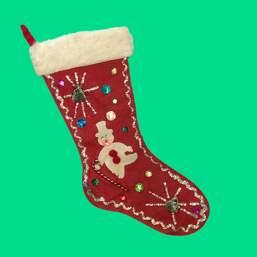 50s Christmas Felt Stockings | Snowman