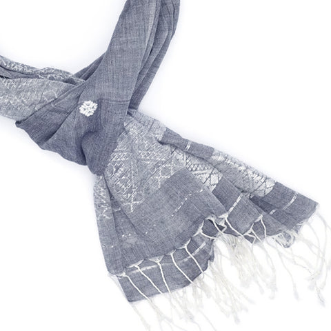 Ikat Check Cotton Scarf | Navy