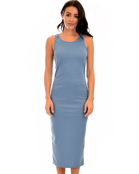 Hourglass Bodycon Blue Midi Dress