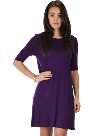 Reporting For Cutie 3/4 Sleeve Purple T-Shirt Tunic Dress
