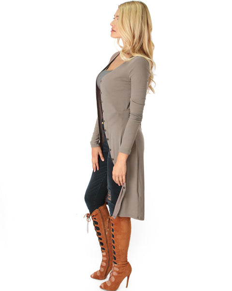 Versatile Long Button-Up Ribbed Taupe Cardigan Dress