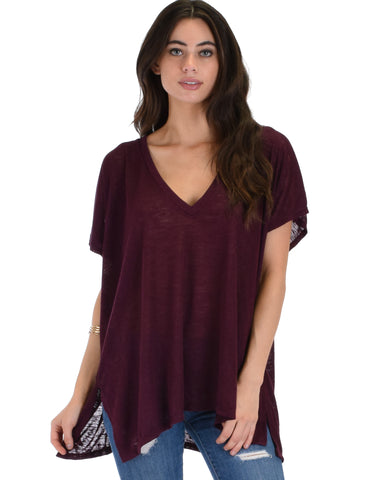 Wide Neck Oversized Burgundy Thermal Top