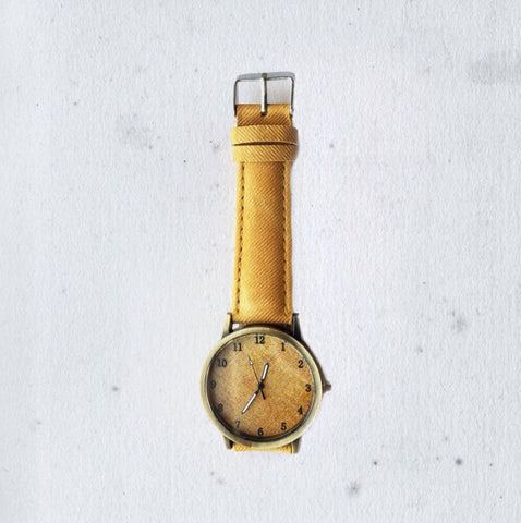 WORN OUT DENIM MUSTARD WATCH