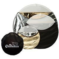 "Photogenic Chameleon 22"" 5-in-1 Collapsible Disc Reflector, Translucent, White, Black, Silver, Gold. (CH22) - Lighting-Studio - Photogenic - Helix Camera"