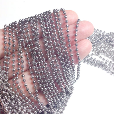 2.5mm Ball Chain, Stainless Steel, Lot Size 10 Meters, #1916