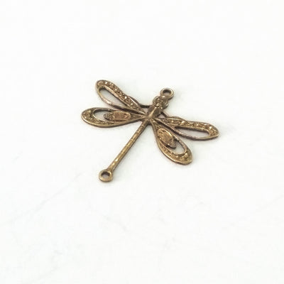 Large Antique Brass Filigree Dragonfly Connector Charm, 2 Loops,  Lot Size 6, #09B
