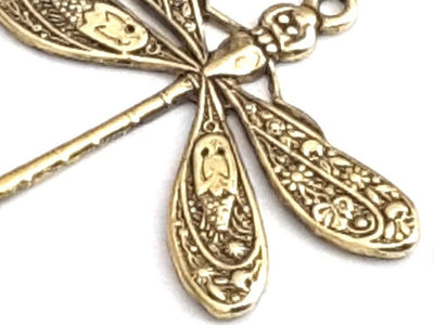 Large Gold Dragonfly Charm, 1 Loop, 24 Kt Gold Plated Brass, Lot Size 6, #04G