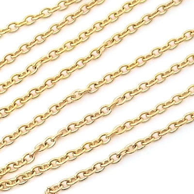 Gold Stainless Steel Jewelry Chain, 3x4mm Oval, Open Links, Lot Size 25 Meter Spool, #1922 G