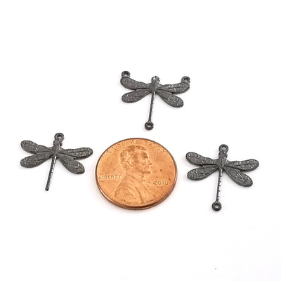 Small Black Dragonfly Pendant Connector Charm, 3 Loop, Lot Size 6, #03BL