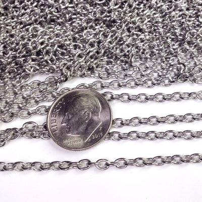 Stainless Steel Jewelry Chain, 3x4mm Oval Open Links, Lot Size 50 Meter Spool, #1922