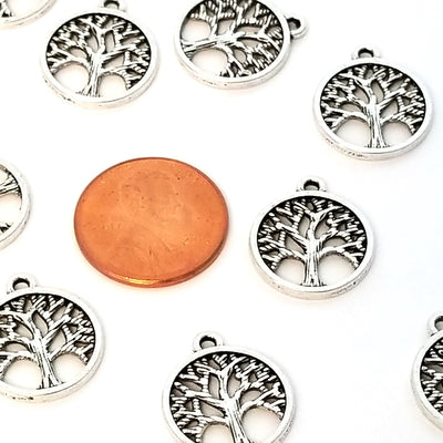 Tree of Life Charms, Antique Silver Metal Pendants, 15mm, Lot Size 50, #1282-1