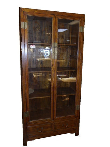 Chinese glass fronted bookcase