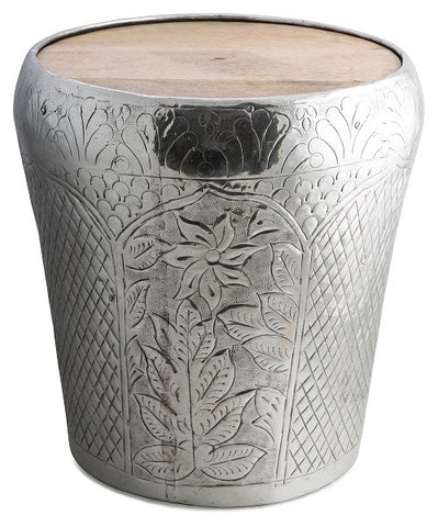 Decorative metal and timber drum lamp table