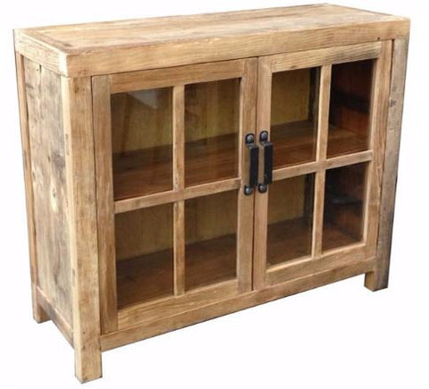 Industrial recycled timber glass front buffet.