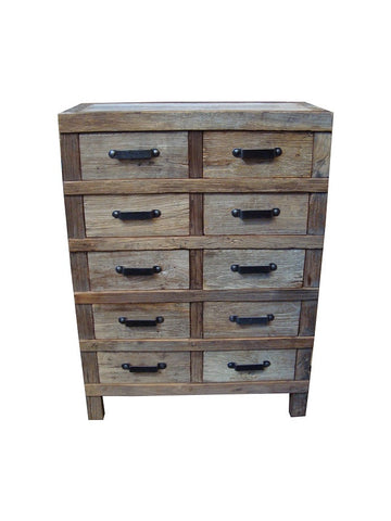 Industrial style rustic recycled timber 10 drawer chest.