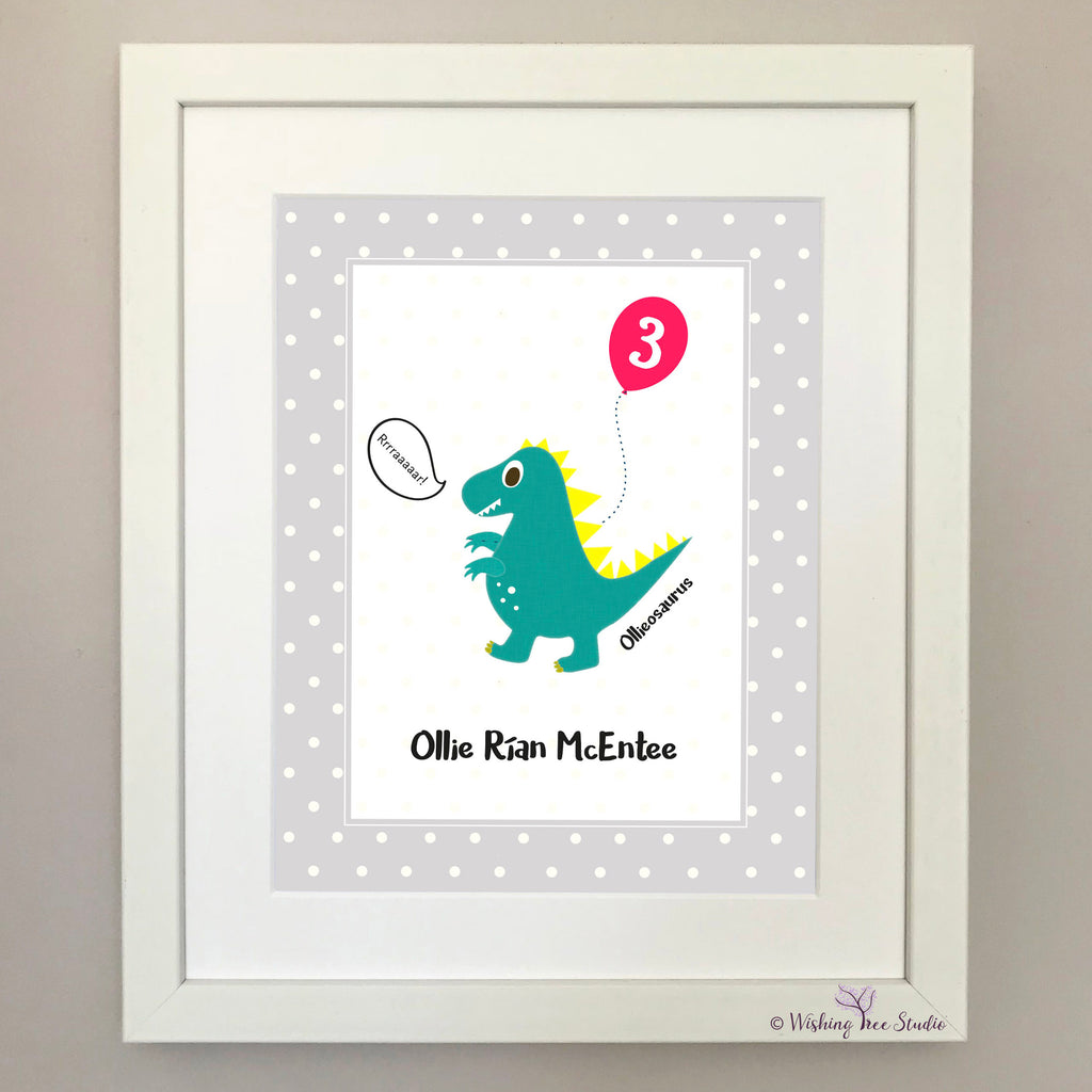 Dinosaur Birthday print (green)