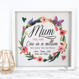 Mum floral print one in a million