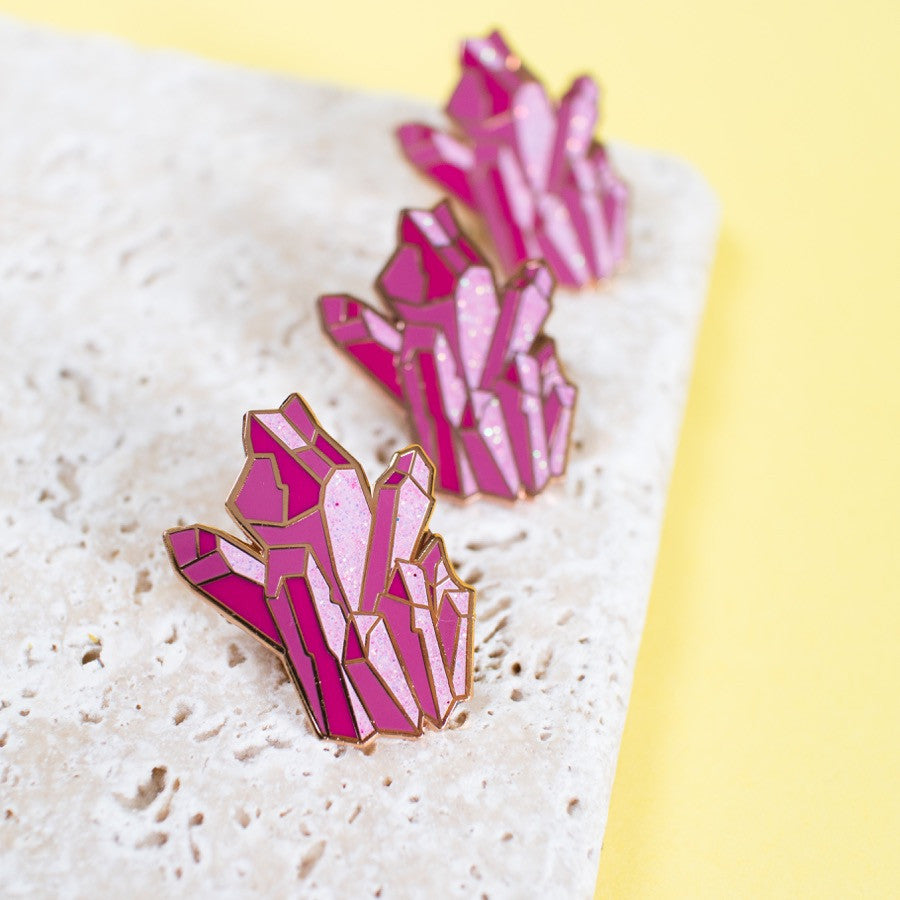 Pink Crystal Enamel Pin - Finest Imaginary