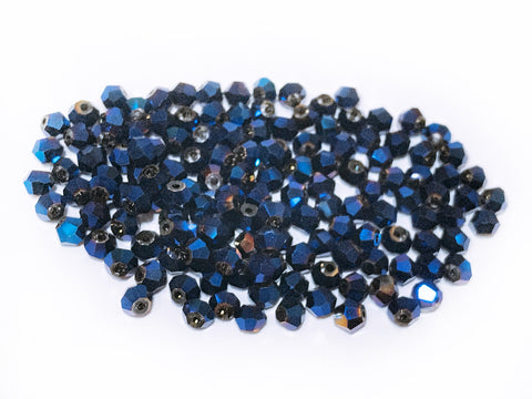 Bicone Glass Bead, 4mm, Metallic Blue, 144 Pcs | 雙尖水晶玻璃, 4mm, 藍光, 144粒