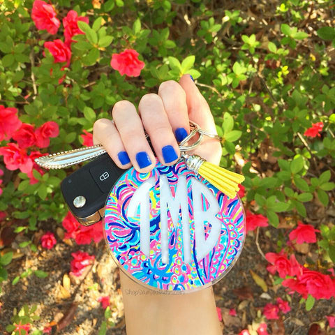 Lilly Two Color Monogram Tassel Keychain