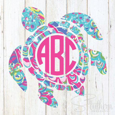 Lilly Sea Turtle Monogram Decal
