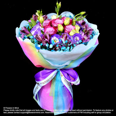 Bouquet of Roses, Eustomas & Alsteroemeria (HB317) - Flowers-In-Mind