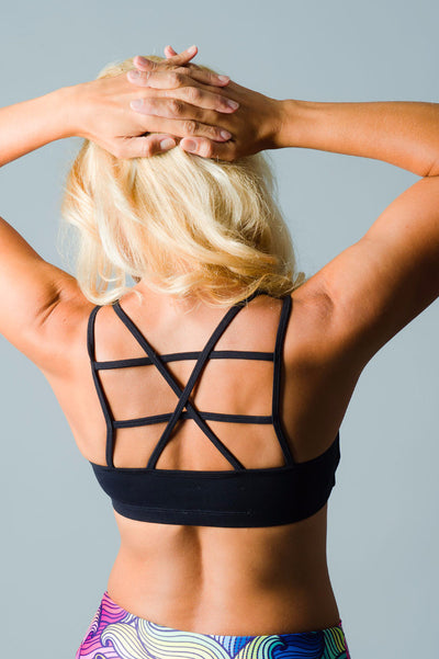 Solid Black Laced Sports Bra