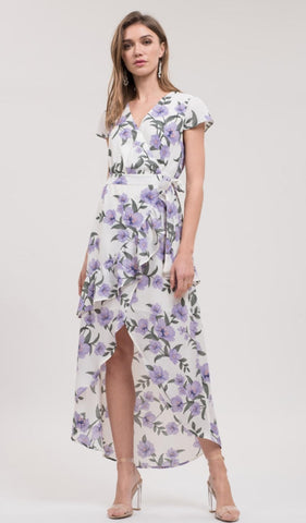 Blu Pepper White Floral Print Tulip Hem Maxi Wrap Dress