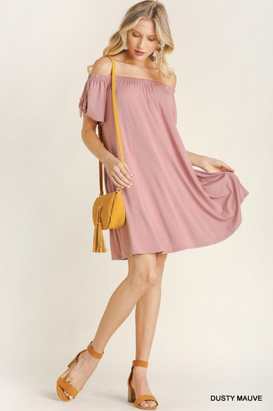 Blu Heaven Off Shoulder Tie Sleeve Dress
