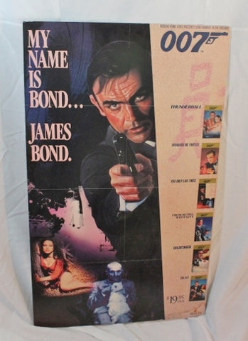 1988 JAMES BOND 007 Promotional Video Store Movie Poster Board Sean Connery 35""