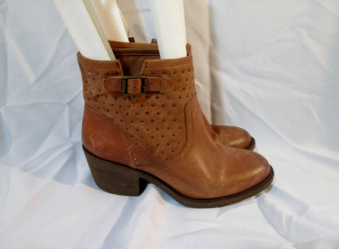 Womens LUCKY BRAND LEATHER BOOT BROWN 10 Western Cowboy Booties