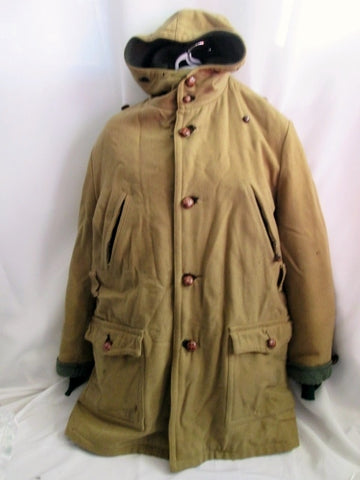Vintage Mens GLENEAGLE'S GREAT WESTERN Wool trench jacket coat peacoat L BROWN
