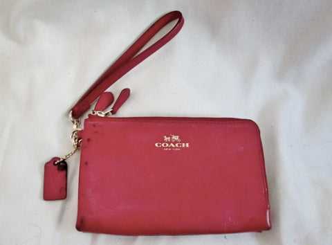 COACH NEW YORK Leather Wristlet Purse Wallet Coin Purse Zip RED CHILE