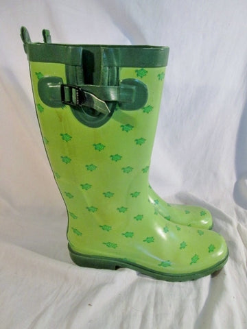 Womens  CAPELLI NEW YORK TURTLE ANIMAL PRINT Wellies Rain Boots Gumboots 8 GREEN