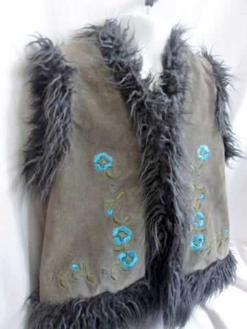 Youth Girls DUBSTER SUEDE Fur JACKET Coat Vest 6 GRAY Floral Hippie Embroidered