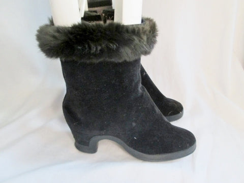 Vintage Womens WALES GOODYEAR Wellies Protective Rain Boot Covers Rabbit Fur BLACK M