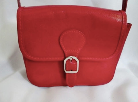 NEW VERA PELLE ITALY Leather Handbag Crossbody Shoulder Bag Swingpack RED Mini Messenger