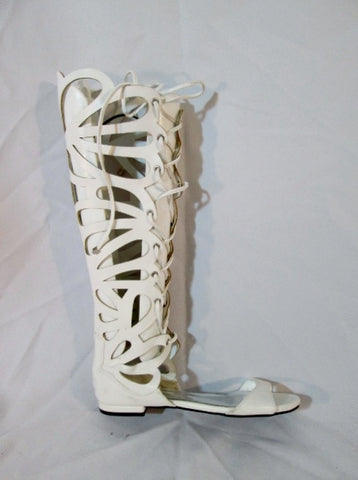Womens BRECKELLE'S Caged Boot FETISH WHITE 6.5 Mesh Steampunk