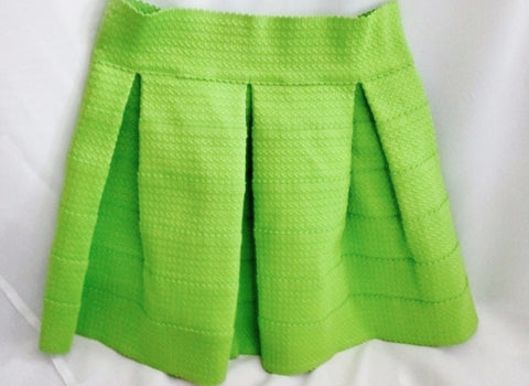NEW WOMENS ENGLISH ROSE SASAN Mini Skirt Hipster NEON ACID GREEN S Ribbon