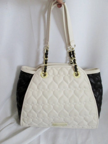 BETSEY JOHNSON Quilted Vegan Satchel Bowler Bag Heart Duffle WHITE BLACK TOTE