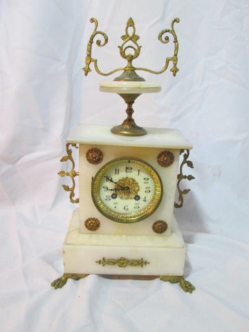Antique 1900s FRENCH FRANCE Brass PINK MANTEL PENDULUM CLOCK Shelf Chime WOW!